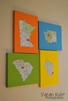 Do this on dining rm wall of the 5 states where we lived. A heart in each of the 9 cities we've lived. Then a picture of each home in the corner.