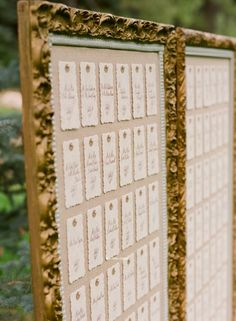 wedding seat charts: well I LOVE the idea of some kind of really big pretty frame up on an easel, or 2 frames on 2 easels... and I kind of like the idea of individual name tags..
