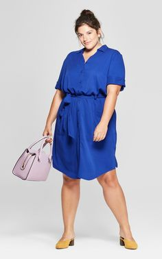 Plus Size Belted Midi Shirt Dress – Plus Size Fashion for Women – Best Of Likes Share Dress Plus Size, Curvy Plus Size, Moda Plus Size, Plus Size Tops, Plus Size Outfits, Plus Size Clothing Stores, Plus Size Belts, Plus Size Womens Clothing, Trendy Clothing