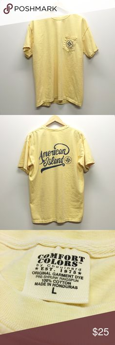 Lemonade pocket tee No matter where your island is, this pocket tee will always be in style. Pigment-dyed. navy screen printed graphics. Ribbed collar.   •No trades •No holds •Offers & bundles made through the offer/bundle tools American Island Tops Tees - Short Sleeve