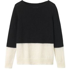 Toast Colour Block Mohair Jumper , Black/Off White found on Polyvore featuring tops, sweaters, long sleeve tops, black long sleeve sweater, black long sleeve jumper, colorblock top and block sweater