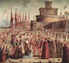 1493 The Pilgrims Meet Pope Cyriac before the Walls of Rome - Vittore Carpaccio