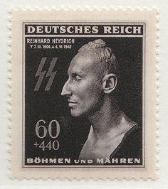Postage stamp (1943) features the death mask of Reinhard Heydrich