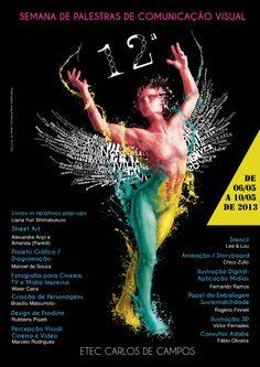 Cartaz sobre a 12ª semana de palestras da ETEC Carlos de Campos