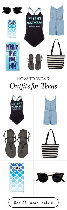 """""""Mermaids Have More Fun"""" by adriastar on Polyvore featuring New Look, River Island, Denim & Co., Havaianas, Casetify and onepieceswimsuit"""