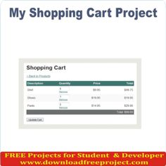 Free Cart system for adding product in cart In PHP Projects Download