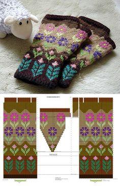 Knitted Mittens Pattern, Fair Isle Knitting Patterns, Crochet Beanie Pattern, Knitting Wool, Knitting Charts, Knit Mittens, Knitted Gloves, Knitting Stitches, Knitting Designs