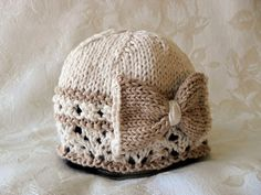 Hand Knitted  Baby Hat in Beige and Ivory with a Beige Bow-Cotton Knitted Baby Cloche-Knitted Children Clothing - BOW REGARD