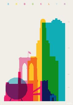 Brooklyn - Shapes of Cities - Screenprint by Yoni Alter