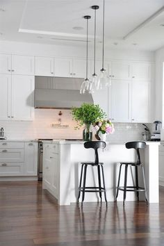 Modern kitchen lighting; really like this look - clean and simple