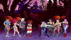 The content is based on Street Fighter's Chun-Li Team and Darkstalkers' succubus Morrigan Aensland Team, and the two sides add three female characters. King Of Fighters, Street Fighter Characters, Female Characters, Chun Li, Halloween Fashion, Rpg