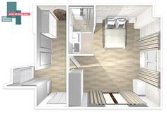 plan 3D suite parentale   B_indoor   http://www.b-indoor.com/ #decoration #design #agencement #contemporain #art #mobilierdesign #amenagement #plans #chambre #parquet #carrelage #faience #grescerame #salledeau #douche #dressing