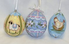 Set of 3 Gourd Easter Eggs   Hand Painted  Lamb by FromGramsHouse
