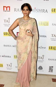 Mind Blowing Look Salmon Color #Bollywood #Saree