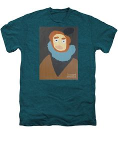 Patrick Francis Premium Deep Teal Heather Designer T-Shirt featuring the painting Portrait Of Maria Anna 2015 - After Diego Velazquez by Patrick Francis