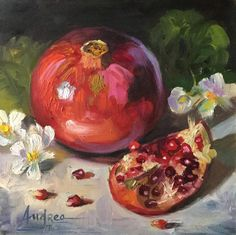 Simple Oil Painting, Fruit Painting, Love Painting, Acrylic Painting Canvas, Watercolor Paintings, Pomegranate Art, Pomegranate Drawing, Oil Painting Background, Exotic Fruit