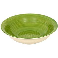 Green Swirl Mambo Stoneware Bowls, 7.5 in.