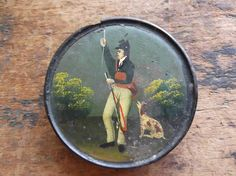 Antique Dashing Folk Art Hand Painted Black Laquer Papier Mache Snuff Box | eBay