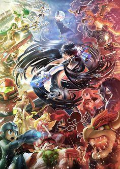 #Bayonetta in #Smash_Bros   Illustration / Eiji Funahashi (PlatinumGames)