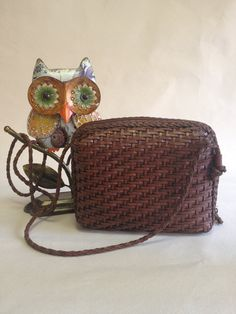 1980s LJS Collection Brown Woven Leather Bag, $25.00