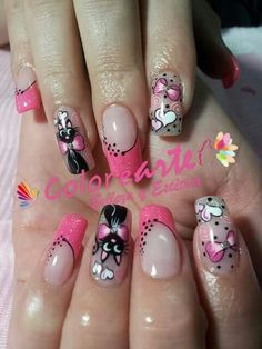 Uñas … in 2019 Fancy Nails, Love Nails, Pink Nails, Pretty Nails, Cat Nail Art, Cat Nails, French Nail Art, Girls Nails, Beautiful Nail Art
