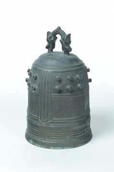 """BRONZE BELL. Japanese, possibly 19th century. Cast panels with inscribed text. Some verdigris patina. 10""""h."""