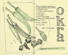 Sketchbook - Pen and Ink Sketch - Okra Recipe Sketch by Rebecca Stahr http://www.rebeccastahr.com