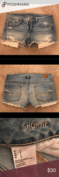 Destroyed American Eagle Jean Shorts Super cute and fun destroyed American Eagle jean shorts. Cute pocket detail as seen in pictures above. Only wore these one time, so they're in great condition. Size 8, but fits more like a 6! Would be great to have for summer ☀️ American Eagle Outfitters Shorts Jean Shorts