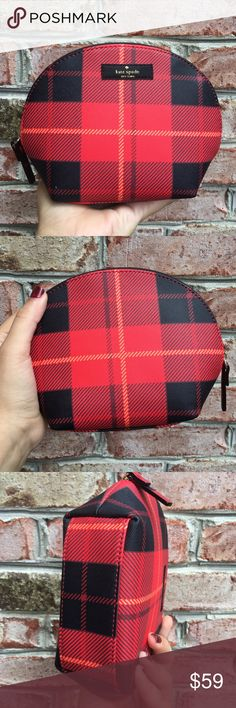 """NWT Kate Spade Plaid Make Up Bag Brand new with tags cosmetics case in plaid color. Measurements 7.5"""" X 5.5"""" X 2.75""""  Ribbon zipper pull  Coated canvas  Satin lining, card pocket   ✔️ Bundle Discounts  ✔️ Reasonable Offers through offer button  ❌ Low Balling  ❌ Trades kate spade Bags Cosmetic Bags & Cases"""