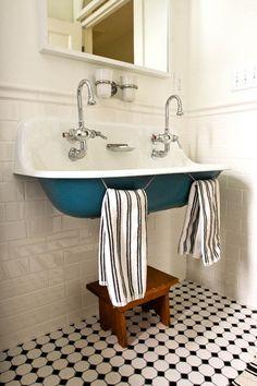 kohler brockway double sink, teal, tile