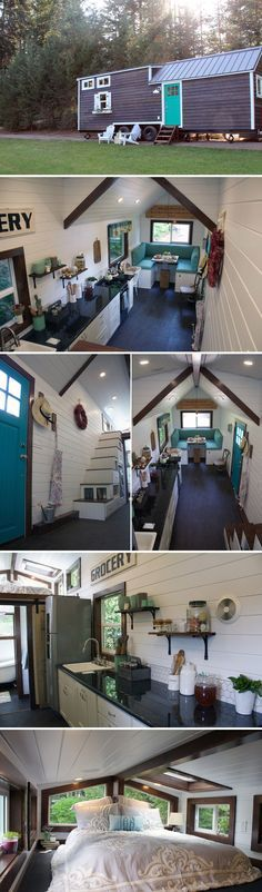 This tiny home features tongue and groove white walls with dark wood trim and charming Southern touches. This tiny home features tongue and groove white walls with dark wood trim, charming Southern touches, and a spacious 75 sq. Tyni House, Tiny House Living, Tiny House Plans, Tiny House On Wheels, Tiny House Nation, Tiny House Movement, Tiny Spaces, Tiny House Design, Little Houses