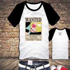 One Piece Arrest Warrant Poster t-shirt Luffy/Zoro/Sanji/Nami/Usopp/Robin/Brook/Chopper Wanted Poster T shirts Clothes XXL