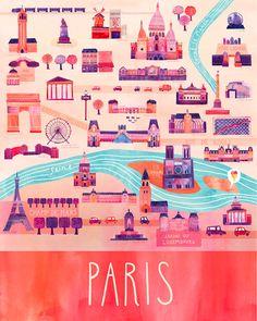 Love this illustrated Paris map print by Marisa Seguin!