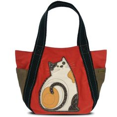 Chala Handbag Carryall Tote LAZZY CAT Orange Purse Big Bag Canvas