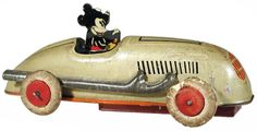 c.1940 Automatic Toy Co., Mickey Mouse Lightning Racer (rubber tires)