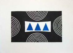 Three Blue Triangles, c2000, Breon O'Casey, lino cut, 49 x 67.5 cm, Cornwall