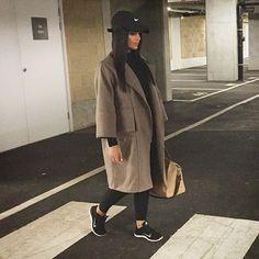WEBSTA @ xammasi - @DateNightOutfit: Nike cap and trainers, leggings, turtle neck top and ALMAU new collection overcoat.