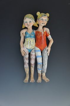 Pooky Pair ceramic wall sculpture by artist Victoria Rose Martin