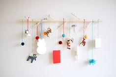 DIY modern branch advent calendar by Casey Baudoin