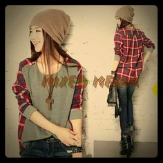 Mixed media long sleeve T-shirt Casual and stylish mixed media top. Plaid part is flannel and front is the softest cotton. Tops Tees - Long Sleeve