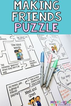 Students will work together to put puzzle pieces together which show ways to make friends. Great for students who are struggling to make and keep friends. Perfect for small group counseling social skills groups SEL friendship groups and school counselors. Social Work Activities, Friend Activities, Counseling Activities, Art Therapy Activities, Group Counseling, Therapy Ideas, Health Activities, Play Therapy, Therapy Games