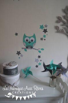 Stickers hibou chouette branche et étoiles - turquoise gris clair et gris foncé