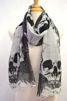 Rock & Roll Skulls and Feathers Print Black and White Scarf Shawl Wrap Fashion Cotton Unisex Scarves.