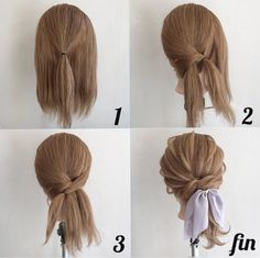 Easy way to add a low ponytail with a scarf cute texture - Frisuren - Hair Length Hair Arrange, Cool Braids, Pretty Hairstyles, Updos Hairstyle, Simple Ponytail Hairstyles, Hairstyle Ideas, Short Hair Ponytail, Barbie Hairstyle, Fringe Hairstyle