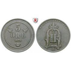Schweden, Oskar II., 5 Öre 1876, ss: Oskar II. 1872-1907. Bronze-5 Öre 1876. Sieg 14; sehr schön 16,00€ #coins