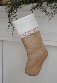 ideas for baby christmas stockings | Dear Lillie — Quilted Burlap Stocking