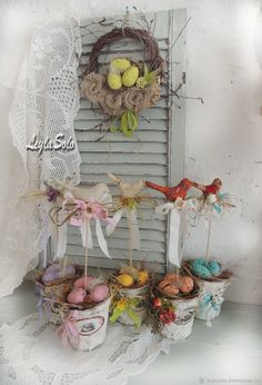 пасхальная композиция Птички – купить в интернет-магазине на Ярмарке Мастеров с доставкой