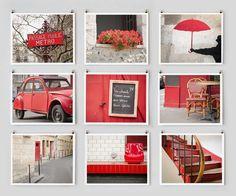 Paris Photography Collection, Red - French Fine Art Photograph Art Prints, Paris Decor, Large Wall Art, Red Home Decor. $145.00, via Etsy.