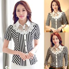 2016 new Short-sleeve Shirts Slim Stretch Shirt Lace Stripe Formal Blouse Shirt Professional Women Spring Summer Fall Blouses _ - AliExpress Mobile Version - Formal Blouses, Fashion Poses, Summer Blouses, Beautiful Blouses, Professional Women, Mode Outfits, Corsage, Dress Patterns, Shirt Blouses