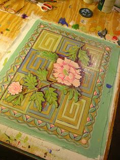 Painting It: Small Peony Floorcloth
